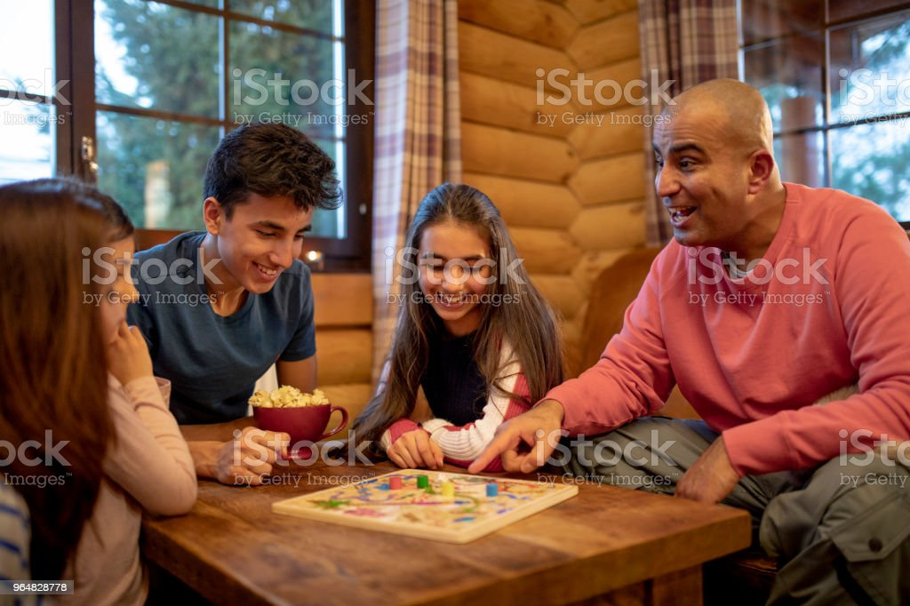Playing a Board Game stock photo