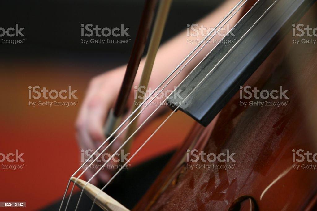 Playing a Cello stock photo