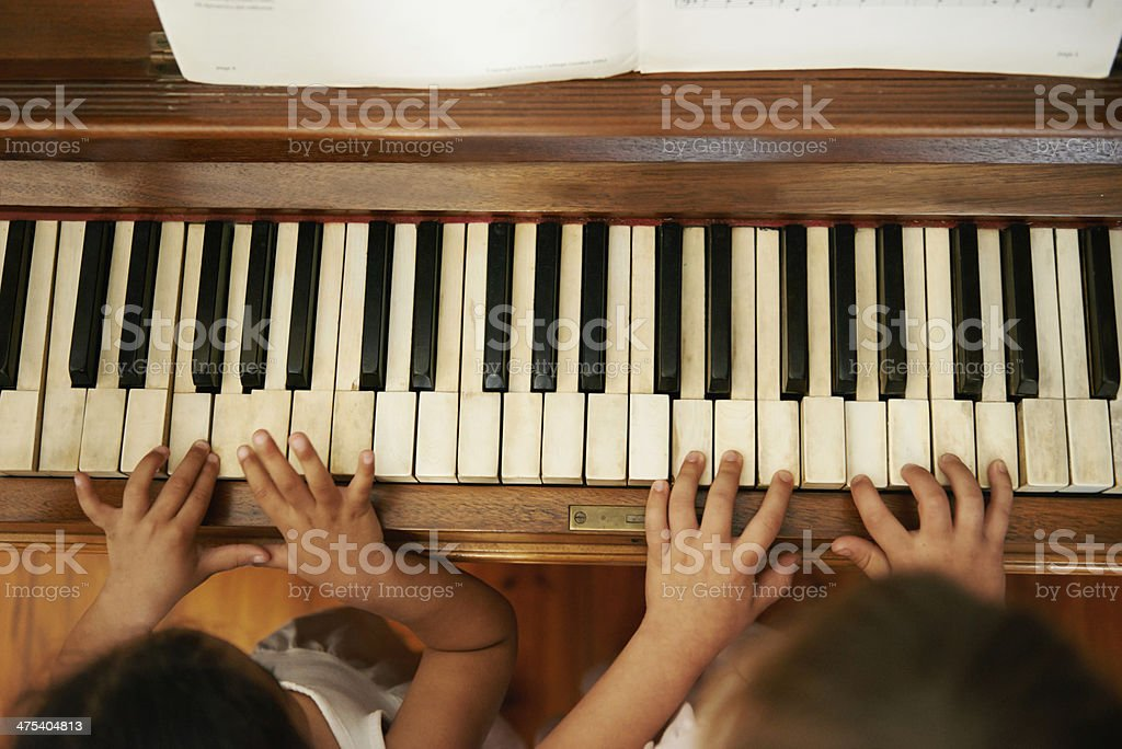 Playing a duet stock photo