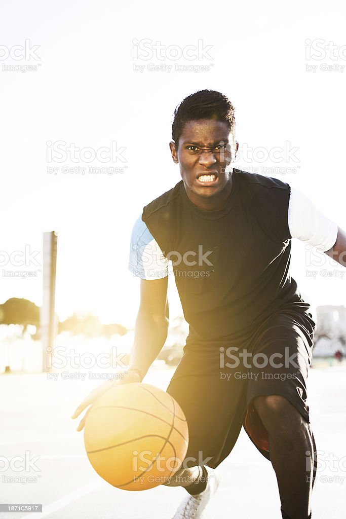 Playing a tough basketball game. royalty-free stock photo