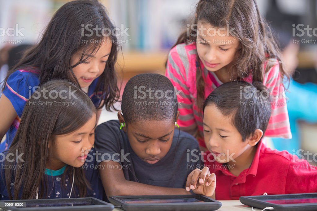 Playing an Educational Game stock photo