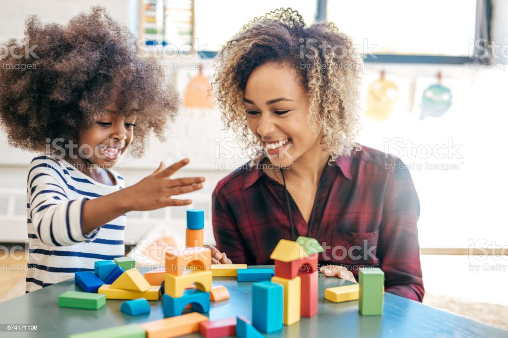 Playing and learning stock photo