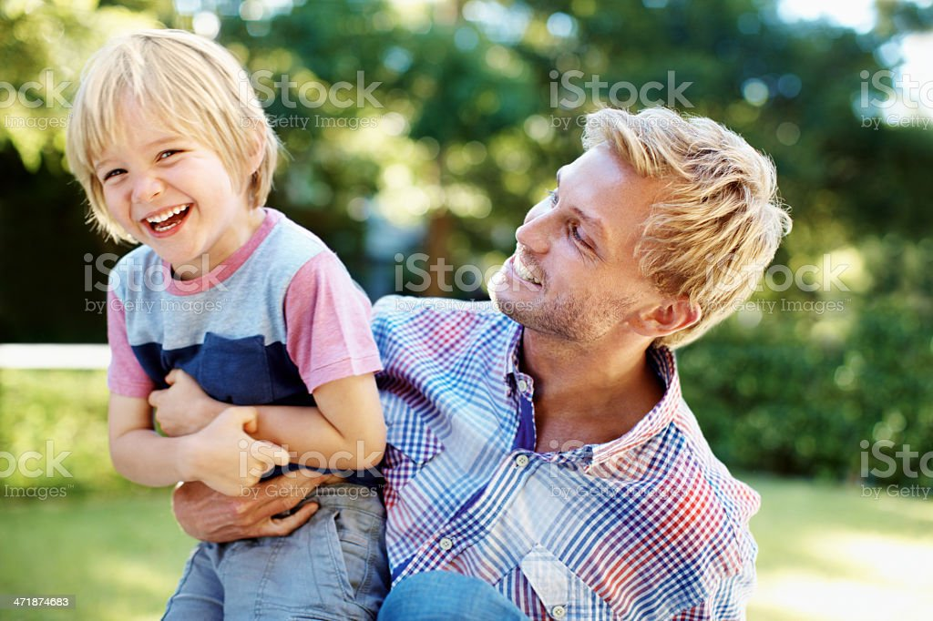 Playing around with dad! royalty-free stock photo
