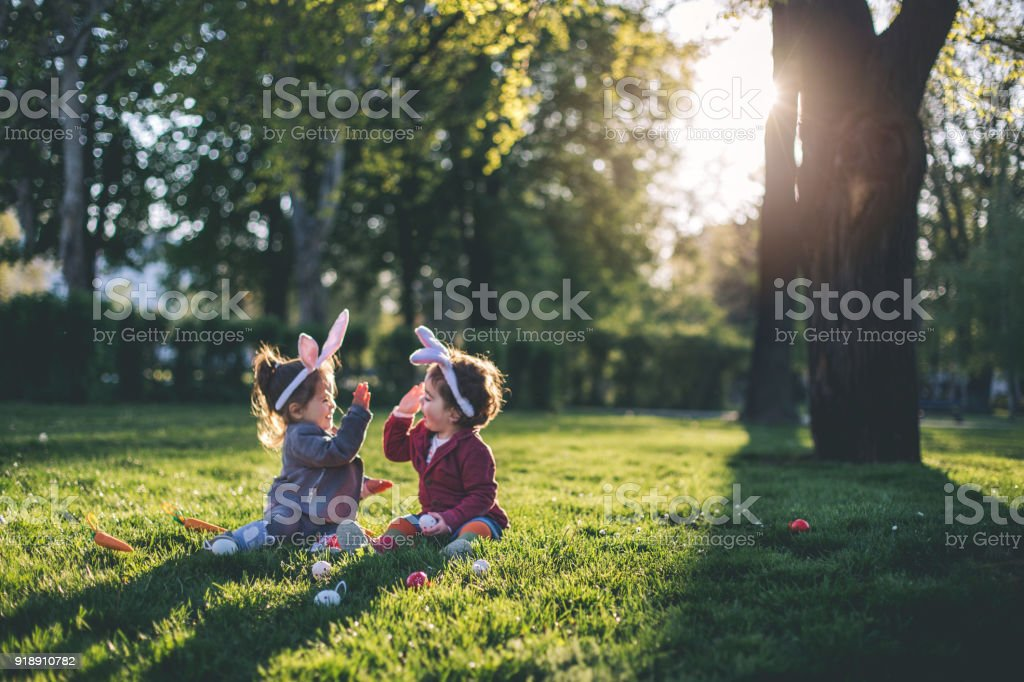 Playing at the park during holidays stock photo