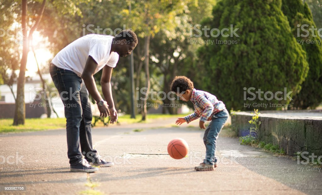 Playing at the park. stock photo