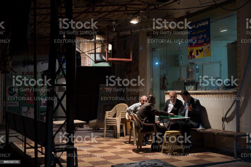 Playing backgammon in Sulaymaniyah, Iraq stock photo