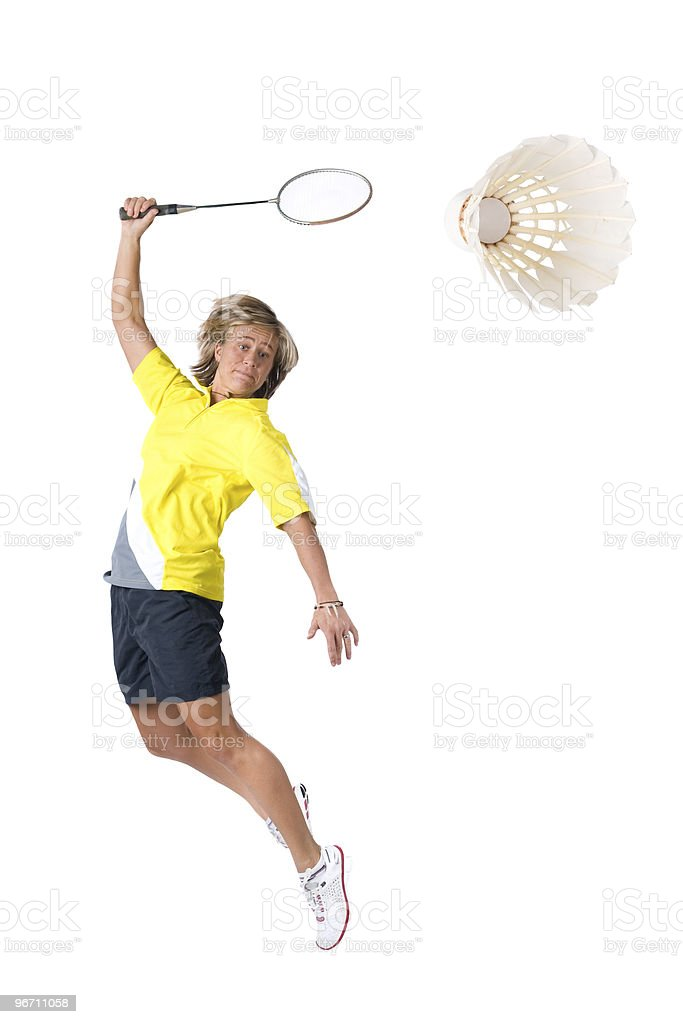 Playing badminton royalty-free stock photo