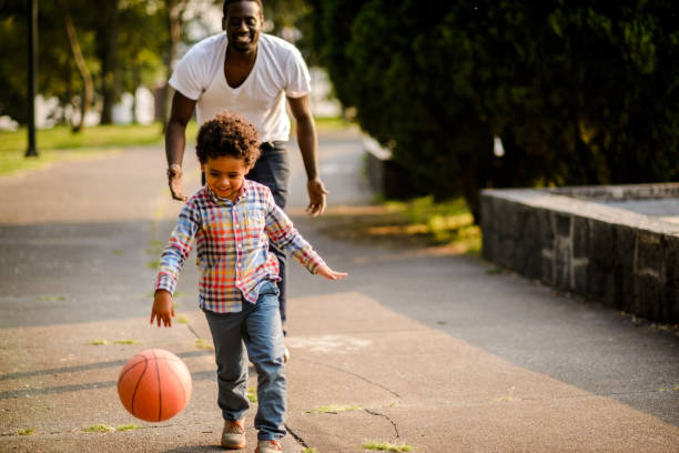 Playing basketball stock photo