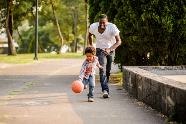 Playing basketball. - foto stock