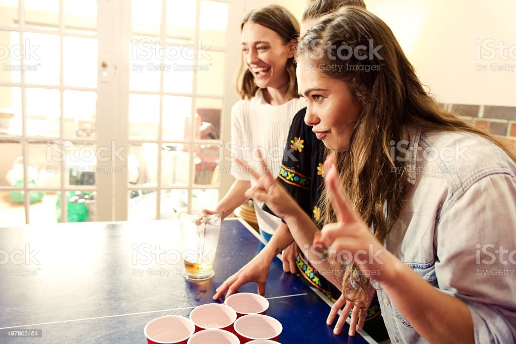 Playing Beer pong stock photo