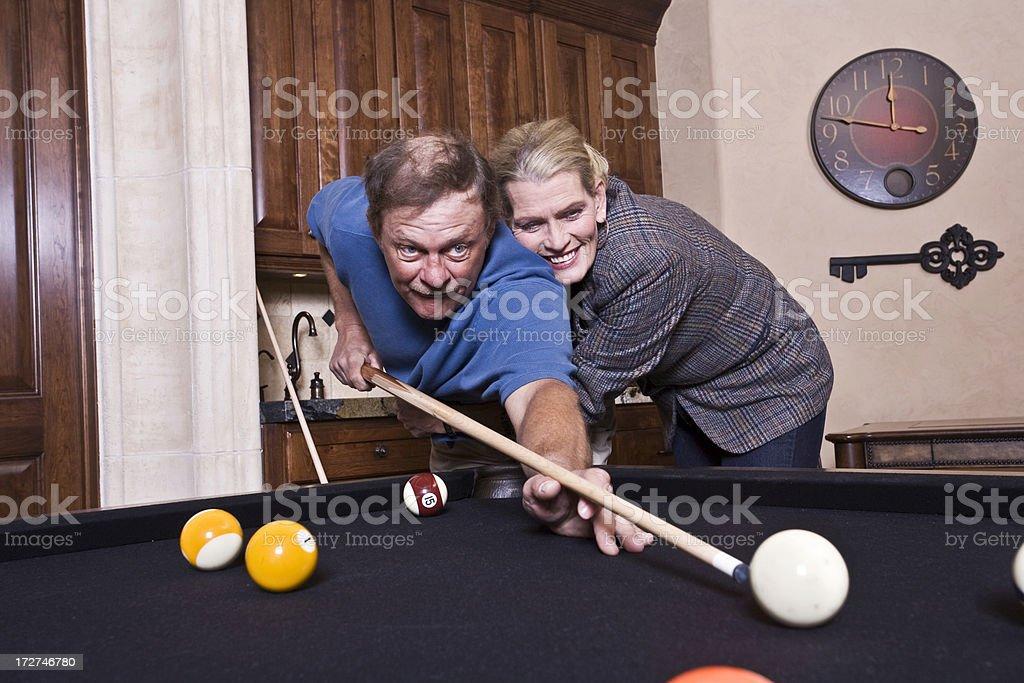 Playing Billards Flirtatiously stock photo