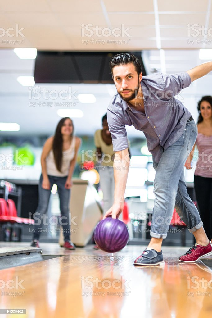 playing bowling , happiness players stock photo