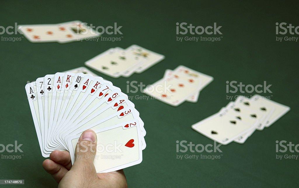 Playing bridge royalty-free stock photo