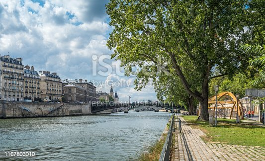 Paris, France - August 6, 2019: View of one of the multiple play areas, installed in the summer for the enjoyment of children and families along the banks of the river Seine, in Paris France.