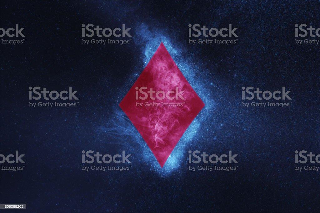 Spielkarte. Diamant-Symbol. Abstrakte Nacht Himmelshintergrund – Foto