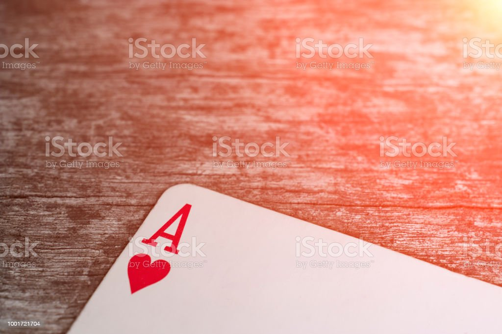 Playing card, game abstract: ace of hearts stock photo