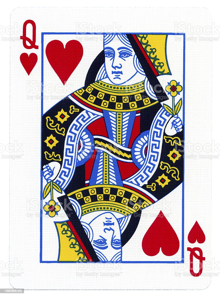 Playing Card - Queen of Hearts stock photo