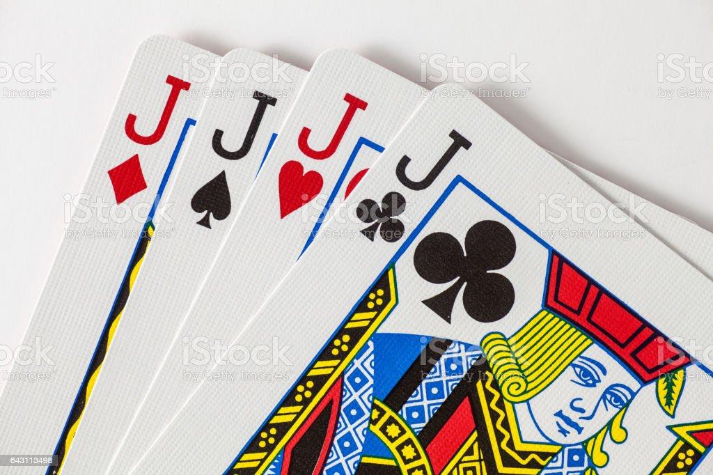 Playing Cards 4 jacks stock photo
