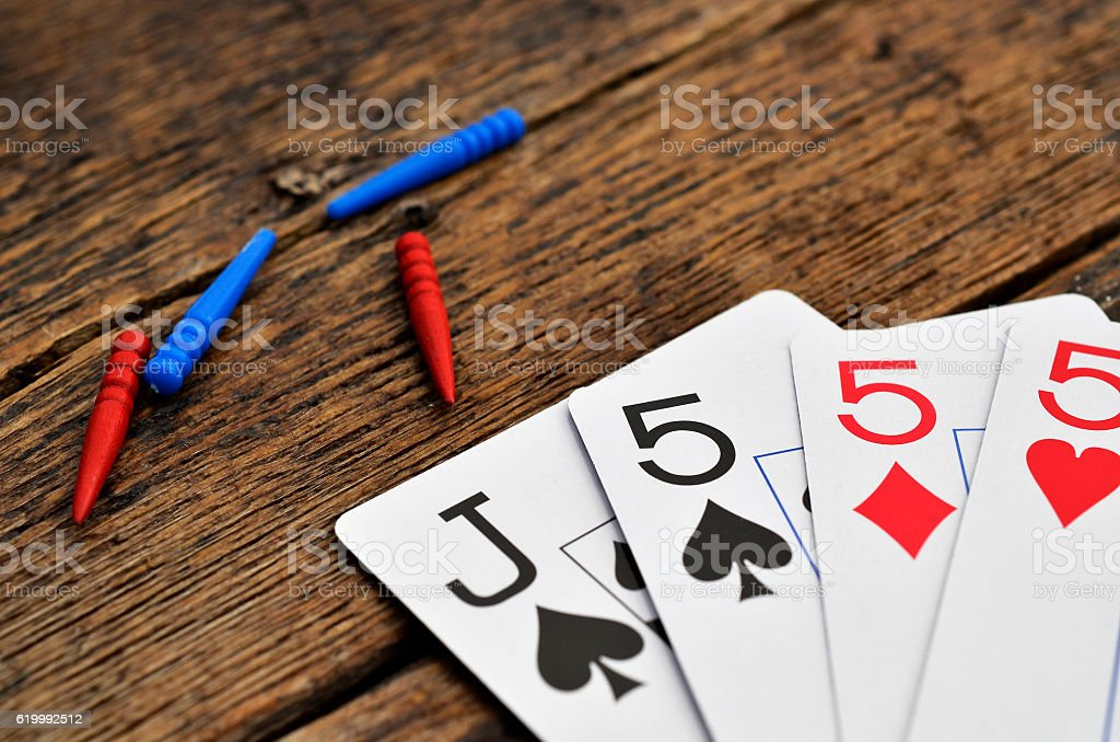 Playing Cards and Cribbage Pegs stock photo
