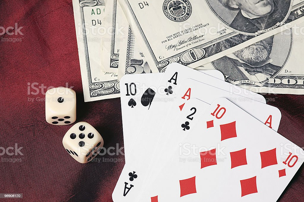 playing cards and dice royalty-free stock photo