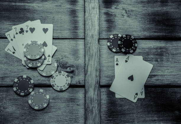 Playing cards and poker chips stock photo
