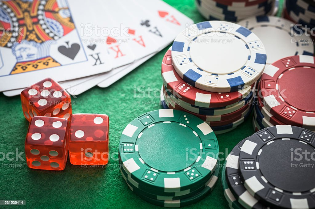 Playing cards, Casino chips stock photo