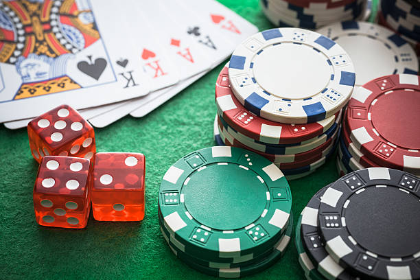 Playing cards, Casino chips Playing cards, Casino chips game of chance stock pictures, royalty-free photos & images