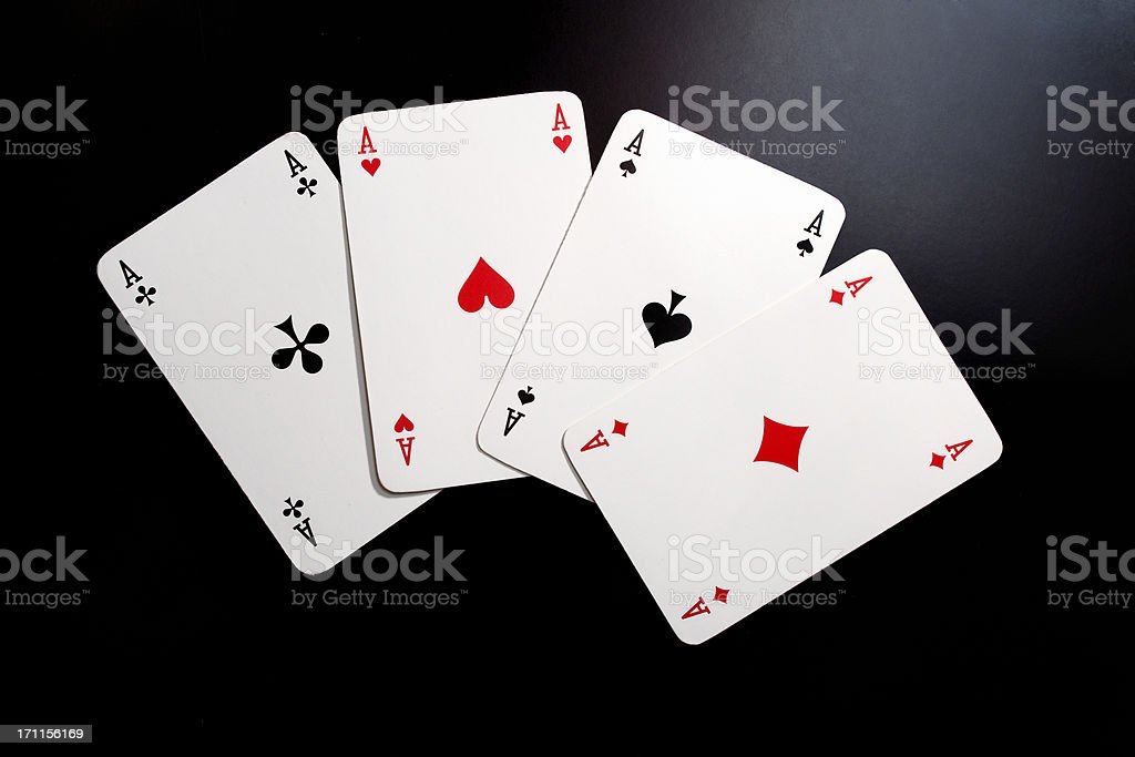 playing cards, four aces stock photo