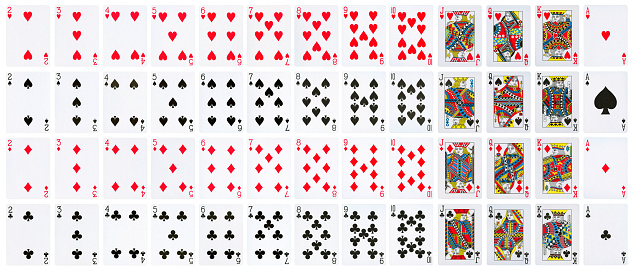 Playing cards full deck - isolated on white