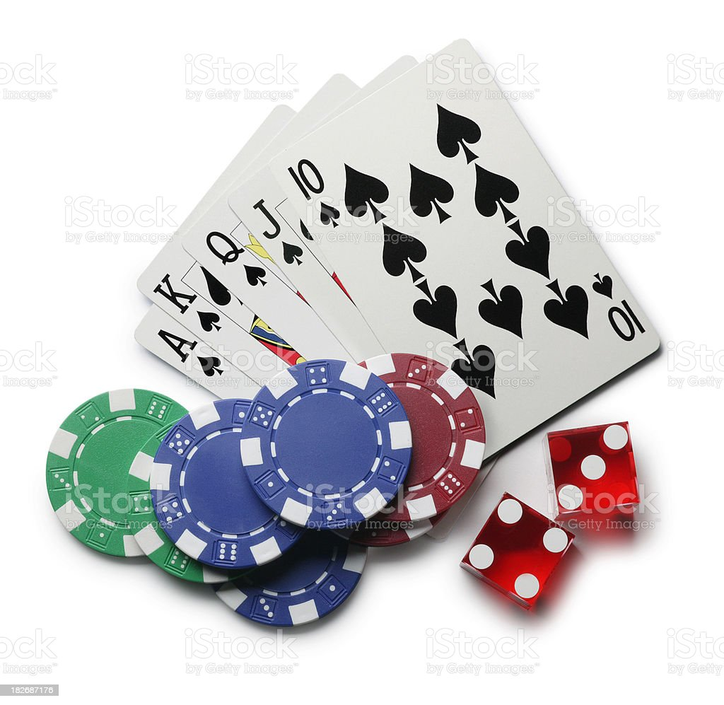 Playing cards gambling chips and dice on white background stock photo