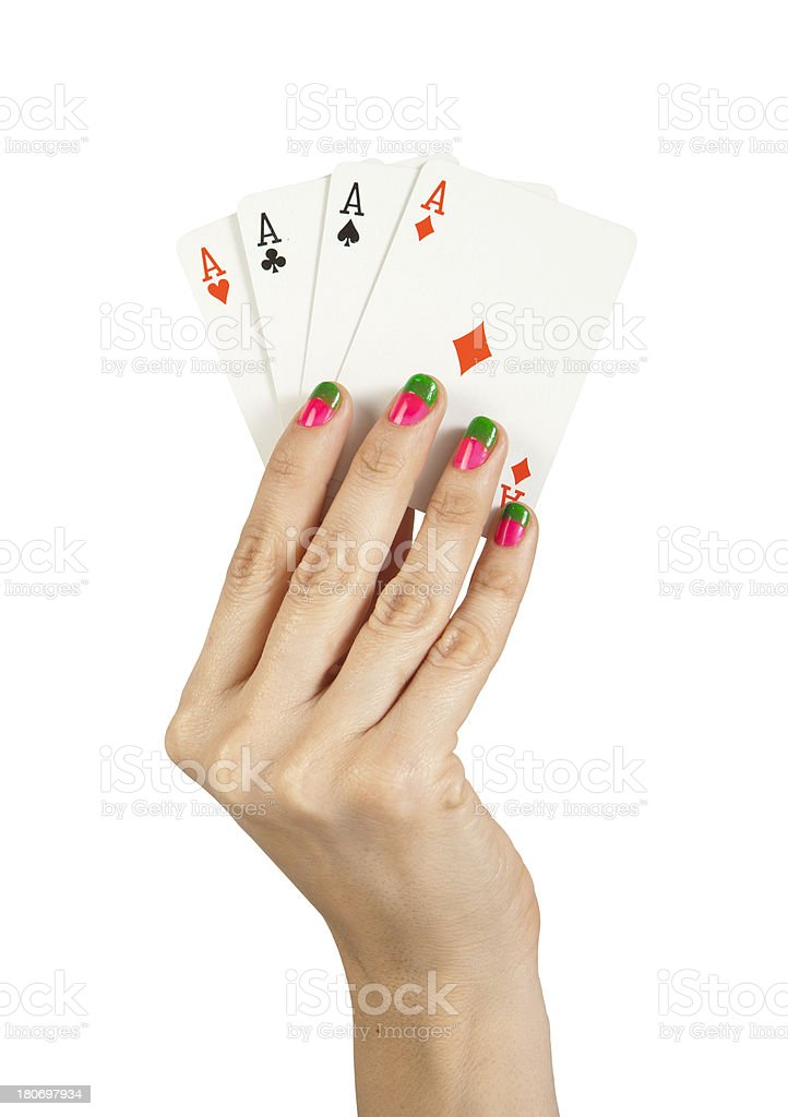 Playing Cards In Woman Hand stock photo