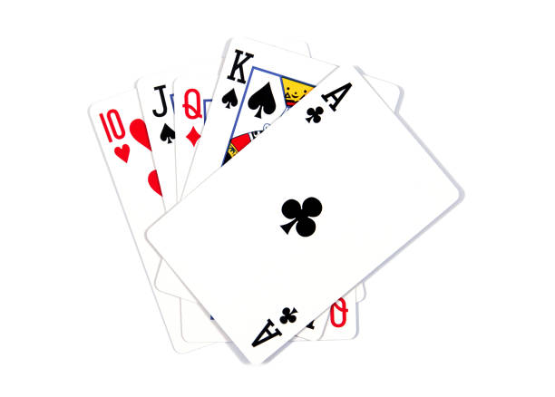 Playing cards - isolated on white background.Royal flush. - Photo