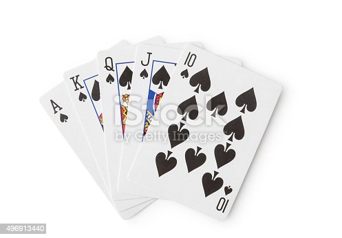 Playing cards, Royal Flush,  Isolated on white, Clipping Path