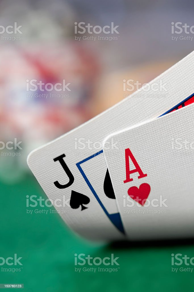 Playing Cards with Blackjack or Poker Hand royalty-free stock photo