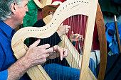 Playing Celtic Lap Harp.