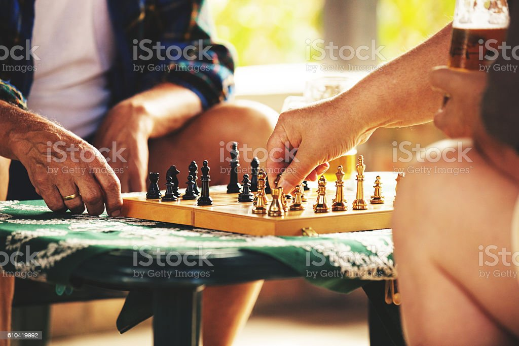 Playing chess early in the morning stock photo