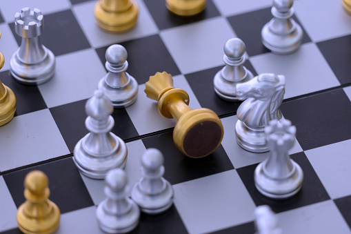Playing chess. Strategy and planing concept. Winner and loser.