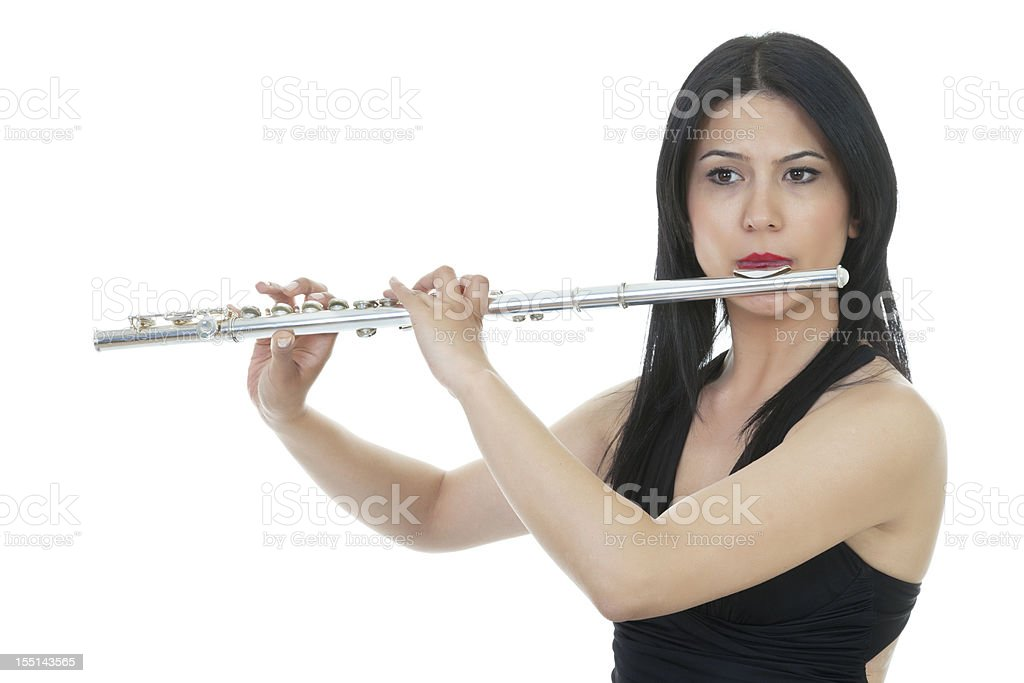 Playing flute stock photo