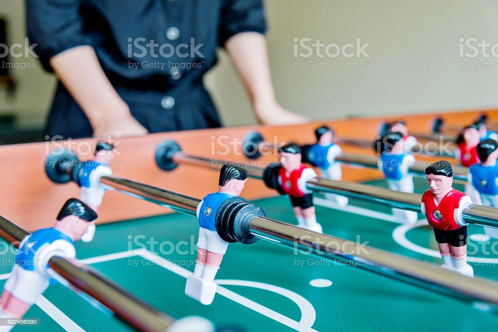 playing foosball stock photo