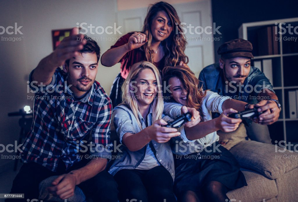 Playing games in office on coffee break stock photo