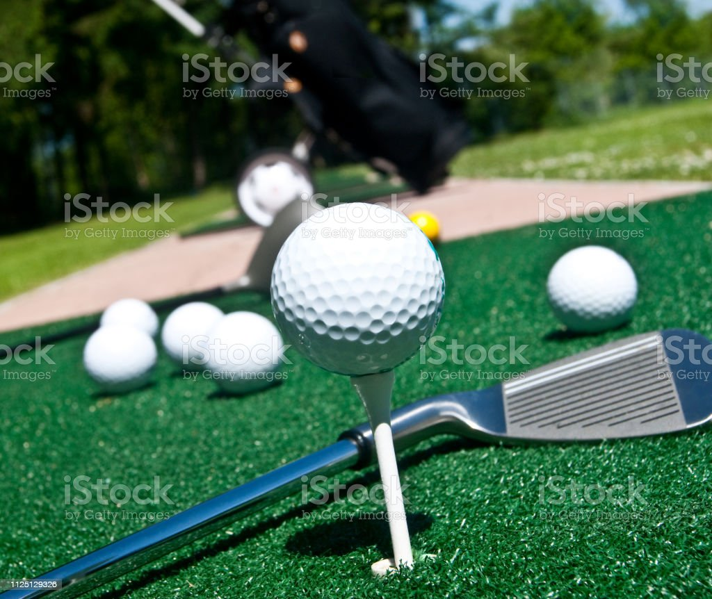 Playing golf equipment close up