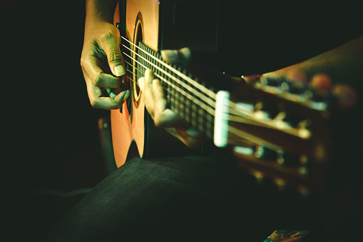It takes practise to make this guitar sound into music for ears. Fingers are the master.