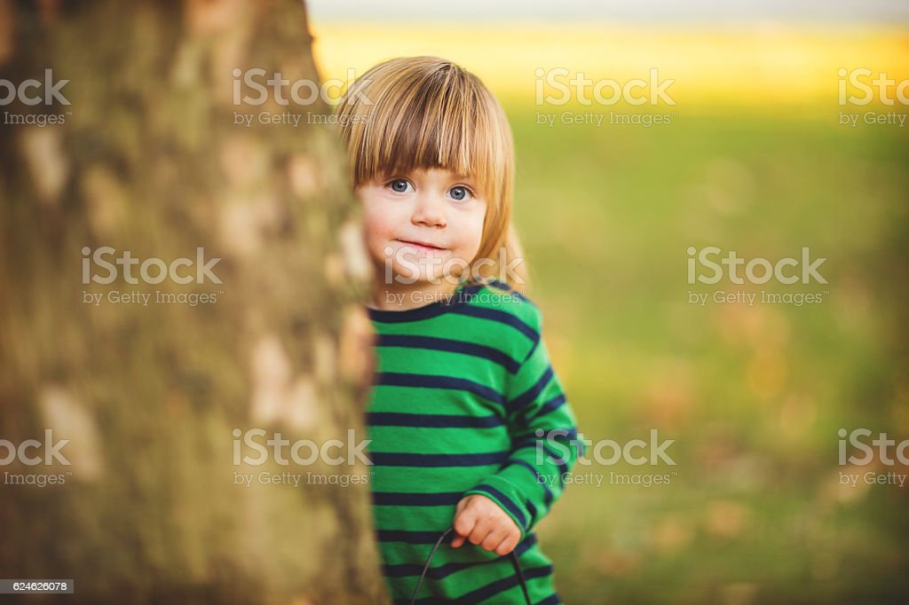Playing hide and seek stock photo