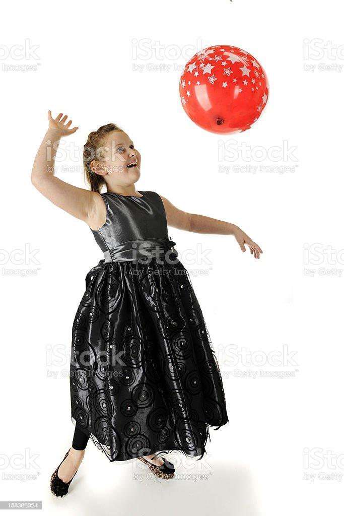 Playing in a Party Dress royalty-free stock photo