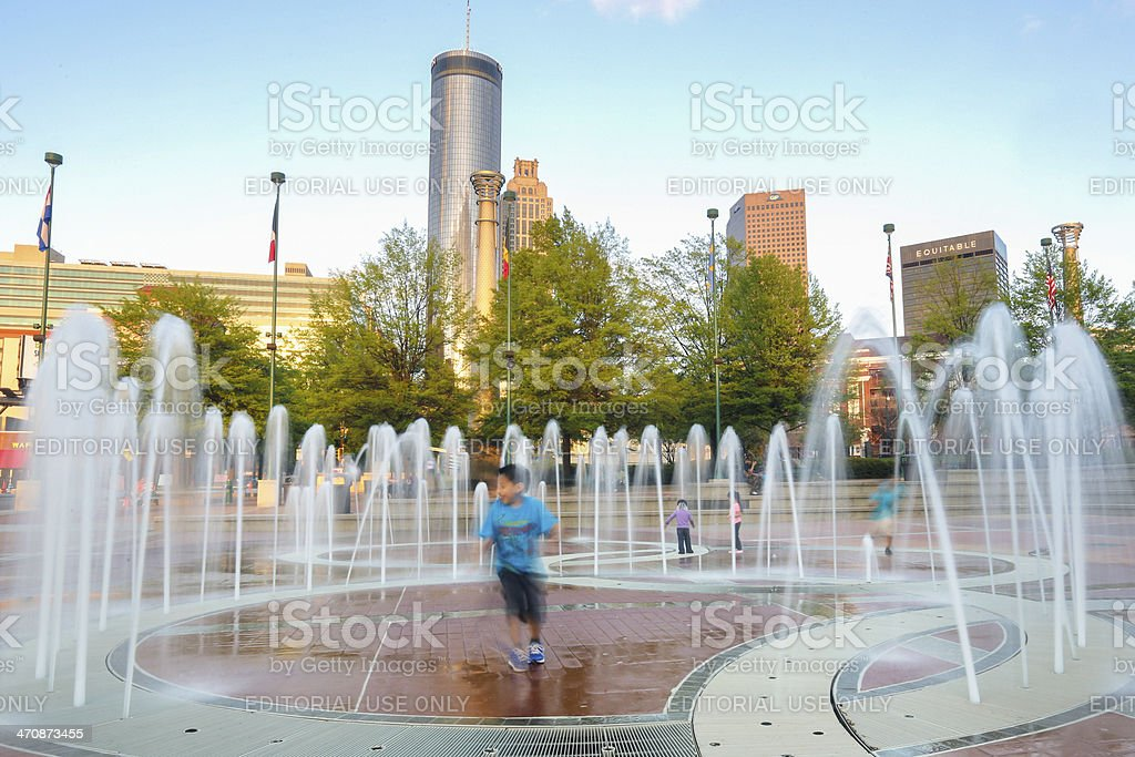 Playing in the fountains royalty-free stock photo