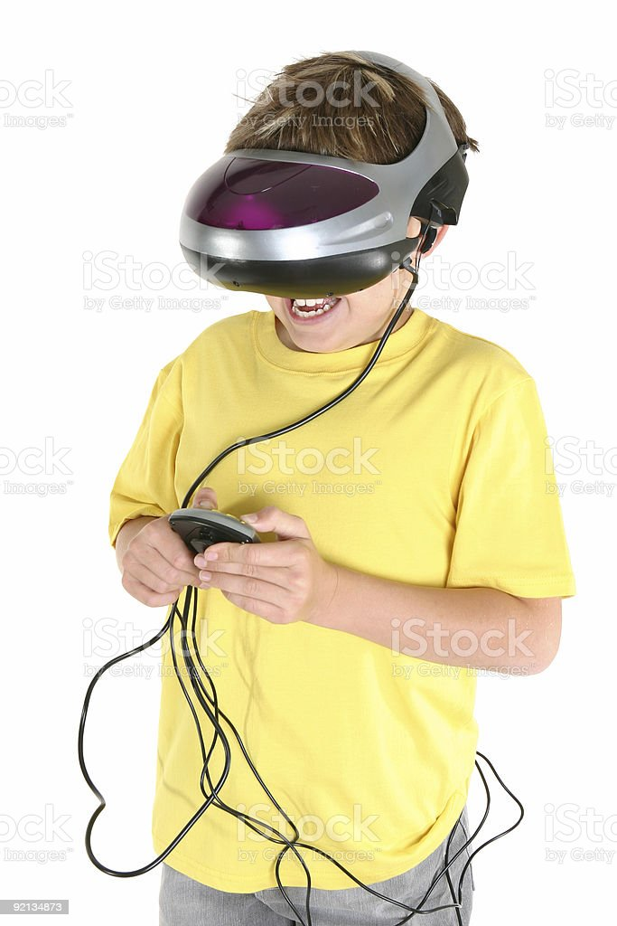 Playing in virtual reality royalty-free stock photo