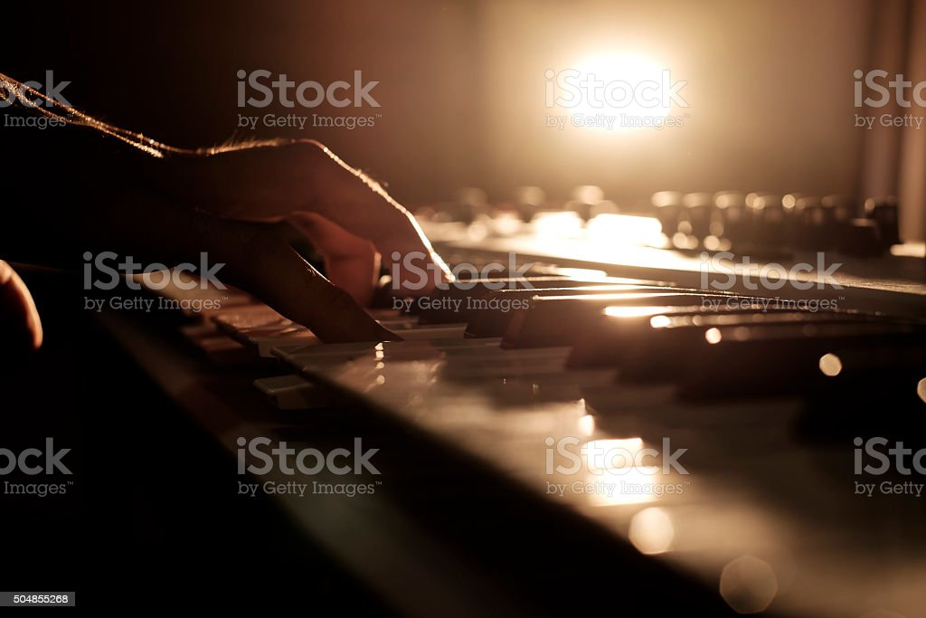 Playing keyboard stock photo