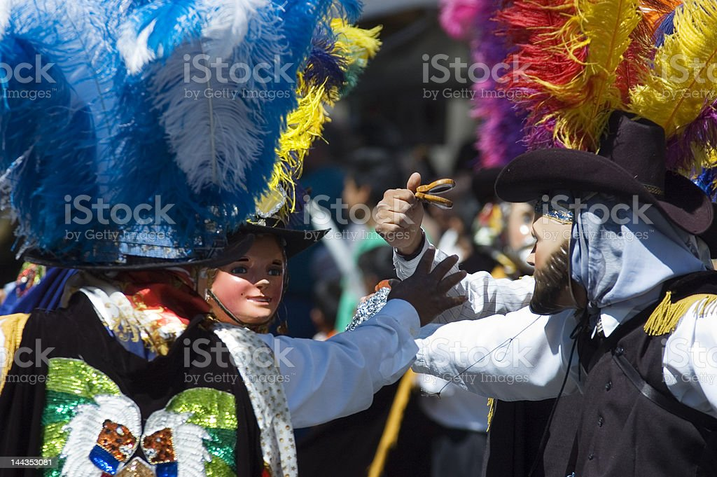 Playing music with castanets at Puebla 's carnival stock photo