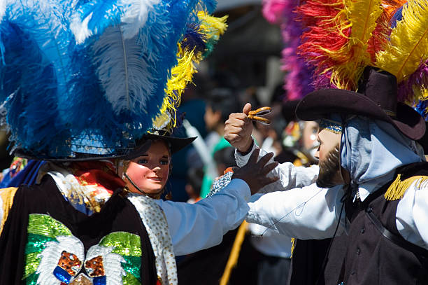 Playing music with castanets at Puebla 's carnival carnival in puebla mexico puebla state stock pictures, royalty-free photos & images