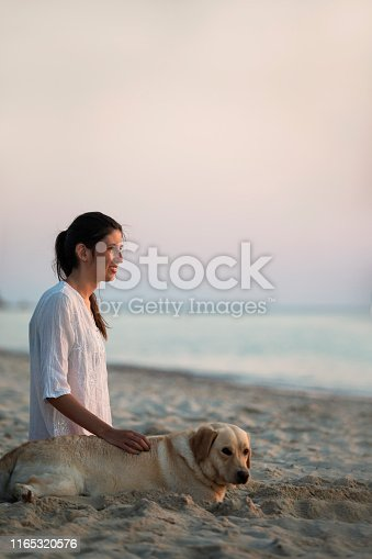 Teenage girl with hearing aid have a fun on the sandy beach with her cute dog